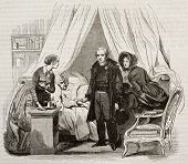 Doctor visiting ill man. Created by Lamy, published on Magasin Pittoresque, Paris, 1843 poster