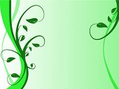 A floral background in shades of green with leaves and swirls in a landscape orientation poster