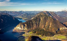 Scenic view of Austrian Alps from the Krippenstein of the Dachstein Mountains range in Obertraun, Austria.