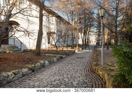 The Fraternal Corps And The Road In Front Of It In The Novospassky Monastery On A Spring Afternoon
