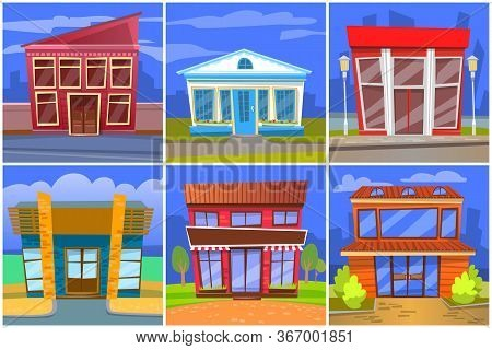 Buildings Designed In Modern And Classic Styles Set Vector. Eatery And Restaurants Exteriors Of Dine