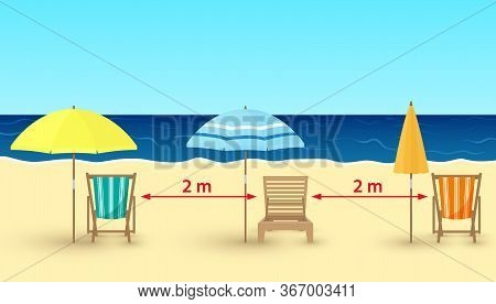 Vector Cartoon Illustration Of Sandy Beach, Chairs, Umbrellas On Sea Background. Beach Chairs With S