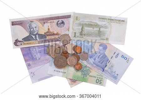 Group Of Various Currencies Isolated On White Background. Exchange Rate Concept.