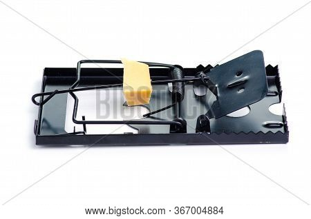 Mousetrap With Piece Of Cheese On White Background Isolation