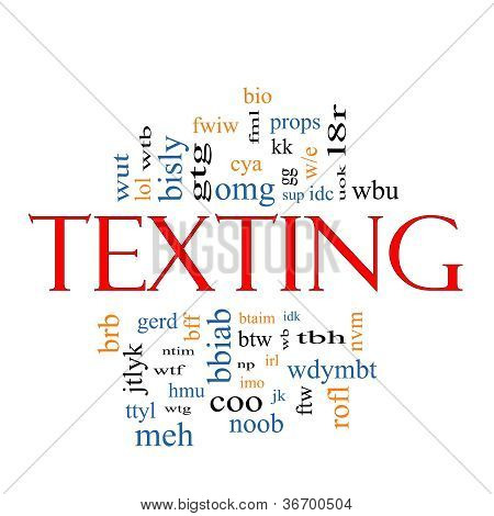 Texting Word Cloud Concept