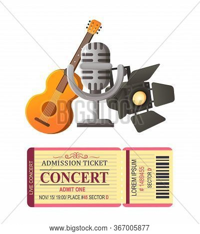 Acoustic Guitar Musical Instrument And Mike Vector, Ticket For Concert And Light For Scene, Piece Of
