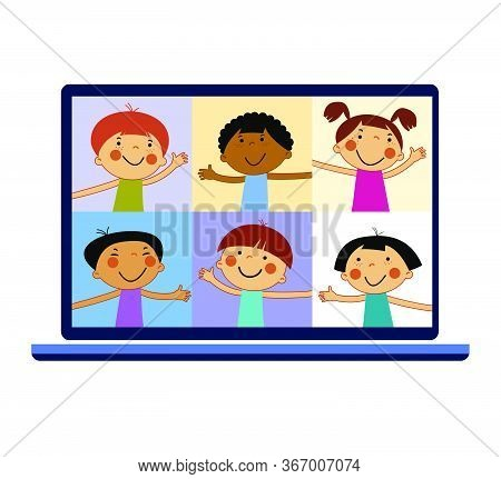 Chat With Child Online. Collective Virtual Meeting