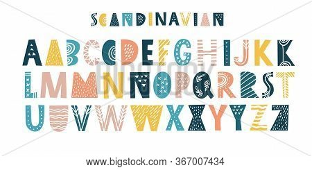 Latin Alphabet In Cartoon Style. Characters In Nordic Scandinavian Style. Cute Colorful Vector Engli