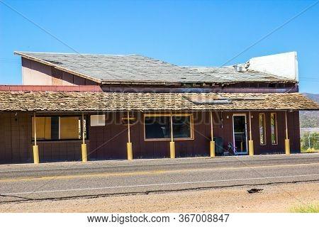 Old Abandoned Road Side Building In Disrepair