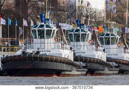 Hamburg / Germany - February 21, 2017: Port Of Hamburg In Hamburg, Germany