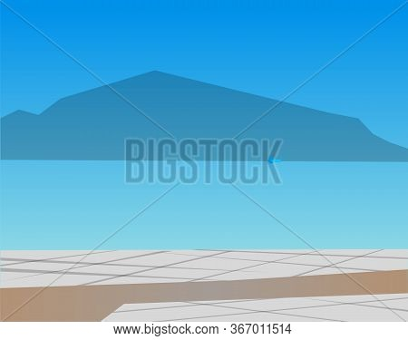 Natural Landscape Vector, Seaside With Mountains Silhouette And Paved Road. Vacation By Ocean And Na