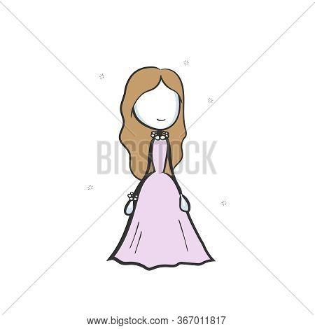 Bride Wedding Dress. Cute Princess In Ball Dress. Hand Drawn. Stickman Cartoon. Doodle Sketch, Vecto