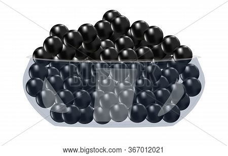 Black Caviar In Glass Bowl Isolated On White Background. Eating Appetizer And Meal Luxury Tasty Ingr