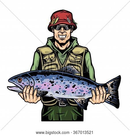Colorful Fishing Vintage Concept With Fisher In Sunglasses And Red Panama Hat Holding Trout Fish On