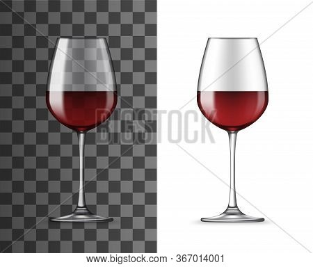 Red Wine Glass 3d Realistic Vector Isolated Mockup. Glossy, Classic Wineglass Filled With Cabernet,