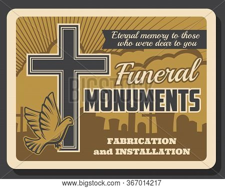 Funeral Monuments Retro Poster, Burial Ceremony Interment Service. Vector Vintage Card With Christia