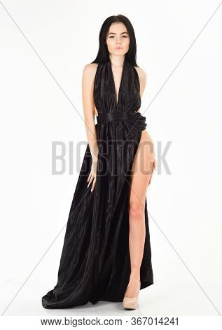 Lady, Sexy Girl In Dress. Fashion Dress Concept. Woman In Elegant Black Long Evening Dress With Deco