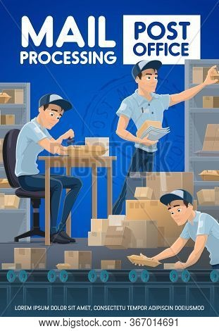 Postmen Sorting Mail And Parcels, Post Office. Cartoon Vector Postman In Warehouse Stamping A Pack O