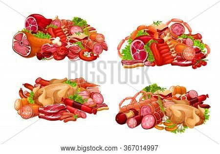 Meat, Sausages And Smoked Vector Food. Butcher Shop Sausages, Beef Steak, Kotelet And Chicken Fowl,
