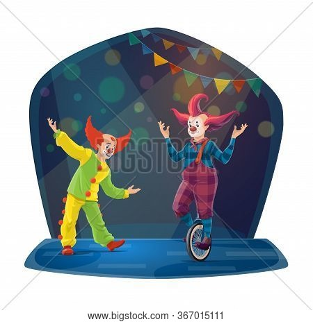 Circus Clown Cartoon Characters On Chapiteau Big Top Arena. Vector Carnival Joker And Jester Perform