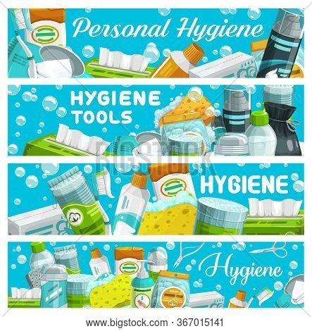 Personal Hygiene Tools, Vector. Facial, Body, Hair Care And Oral Hygiene Product Banners. Toothbrush