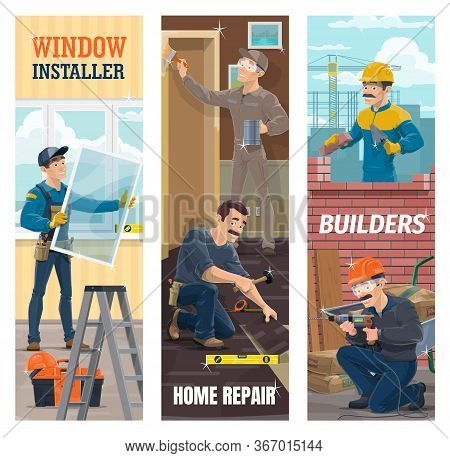 Window And Laminate Flooring Installer, Painter And Builder Workers On Construction Site. Man Instal