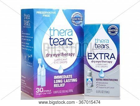 Oakland, Ca - May 11, 2020: Boxes Of Thera Tears Brand Contact Lens Comfort Drops. Dry Eye Therapy,