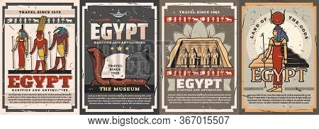 Egyptian Gods, Travel Landmarks And Culture Vector Posters. Isis, Amun, Hathor And Thoth Deities, Co