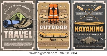 Travel, Rafting, Trekking And Kayaking Sports Vector Posters. Active Leisure, Camping Outdoor Advent