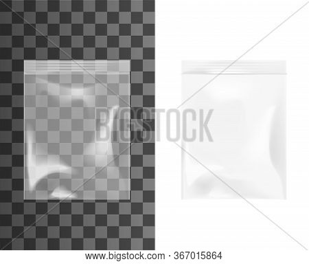 Plastic Or Cellophane Zip Bag, Realistic Isolated 3d Vector Mockup. Empty Transparent Pouches With Z