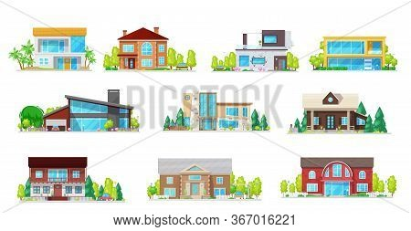 Houses, Real Estate Villas And Cottages Isolated Vector Icons. Cartoon Village Residential Buildings
