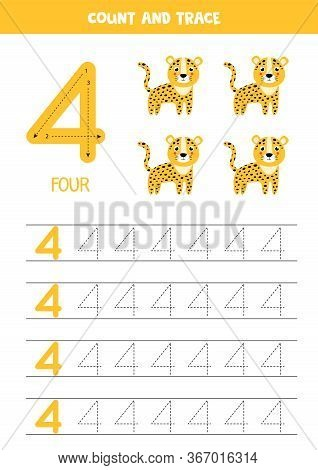 Numbers Tracing Practice. Writing Number Four. Tracing Worksheet With Four Cute Leopards. Ready For