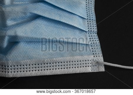 Blue Surgical Mask Close Up Detail (unweared)