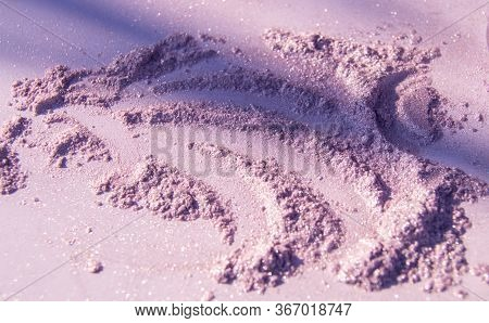 Cosmetic Crushed Powder Lilac Or Pink. Eye Shadow Cosmetic Powder Scattered Various Concepts Of Fash