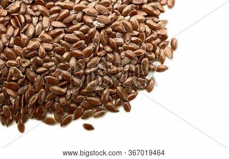 Flax Seeds Or Linseeds Isolated On White Background. Flaxseed Or Linseed Concept.