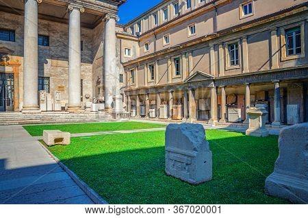 Verona, Italy, September 12, 2019: Museo Lapidario Maffeiano Lapidary Museum Building Facade With Co