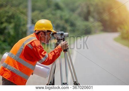 Surveyor Marking Road Construction And Land Contruction