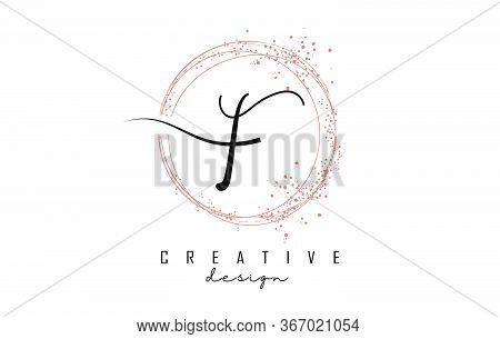 Sparkling Circles And Dust Pink Glitter Frame For Handwritten F Letter Logo. Shiny Rounded Vector Il