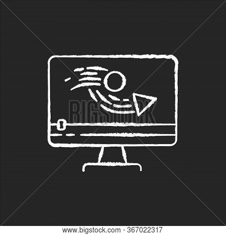 Animation Making Chalk White Icon On Black Background. Video Production Process. Digital Content Edi