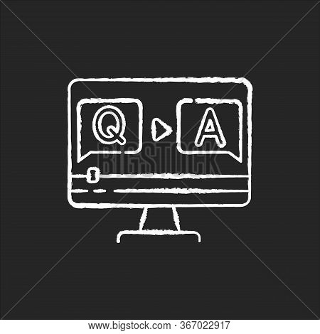 Question And Answer Video Chalk White Icon On Black Background. Journalist Interview Footage. Blogge