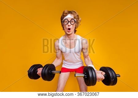 Portrait Of His He Nice Funky Motivated Amazed Comic Childish Foxy Guy Doing Work Out Trainer Progra