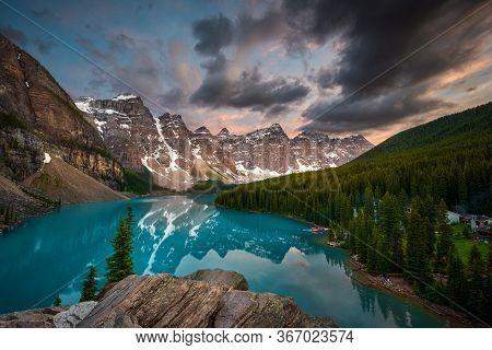 Dramatic Sunset Over Iconic Moraine Lake In Alberta, Canada