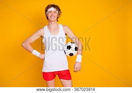 Portrait Of His He Nice Attractive Cheerful Cheery Content Guy Sportsman Holding In Hand Soccer Ball