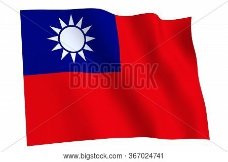Taiwan Flag, 3d Render. Flag Of Taiwan Waving In The Wind, Isolated On White Background.