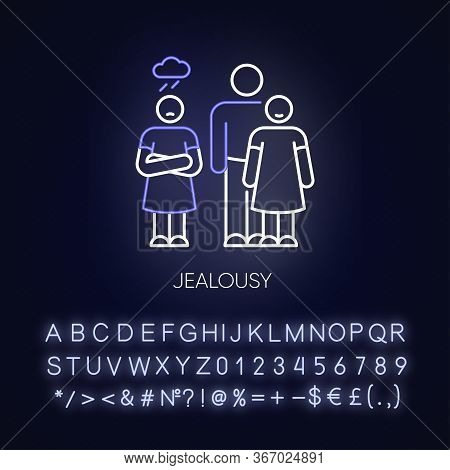 Jealousy Neon Light Icon. Betrayal In Romantic Relationship. Conflict Between Man And Woman. Outer G