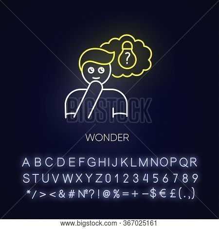 Wonder Neon Light Icon. Curious Facial Expression. Inspirational Thought. Creative Thinking. Outer G