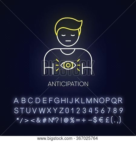 Anticipation Neon Light Icon. Man Expect Future. Person With Intuitive Prediction. Mental State. Out