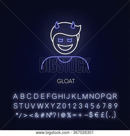 Gloat Neon Light Icon. Evil Smile. Bad Attitude. Vicious Smirk. Scary Person. Negative Feeling. Oute
