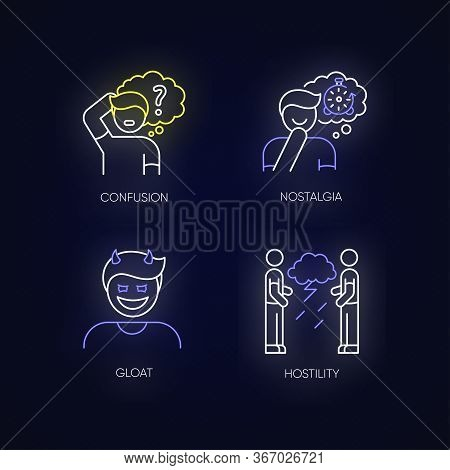 Human Attitude Neon Light Icons Set. Man Think In Confusion. Person Experience Nostalgia. Evil Gloat