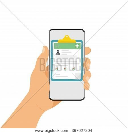 Smartphone In The Hand. Online Medical Record, Medical Record Of The Patient. Medical Record In The
